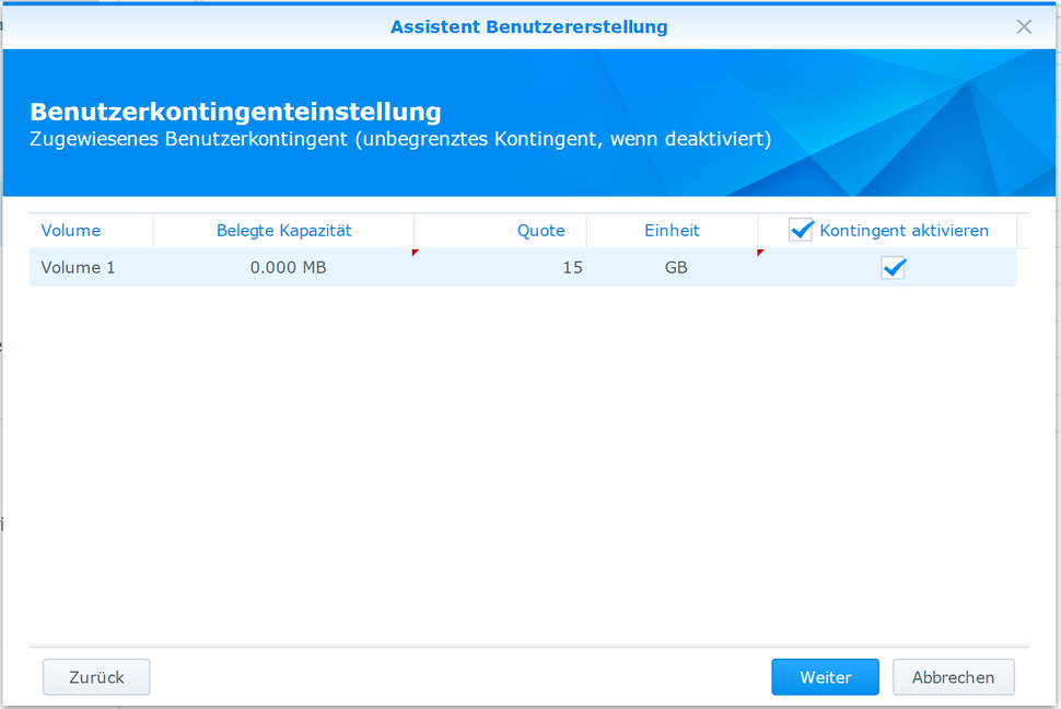 Synology FTP HowTo: Step 6 – Kontingent aktivieren