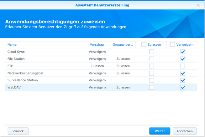 Synology FTP HowTo: Step 7 – Services / Anwendungen Freigeben